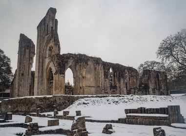 Glastonbury Abbey in the snow.