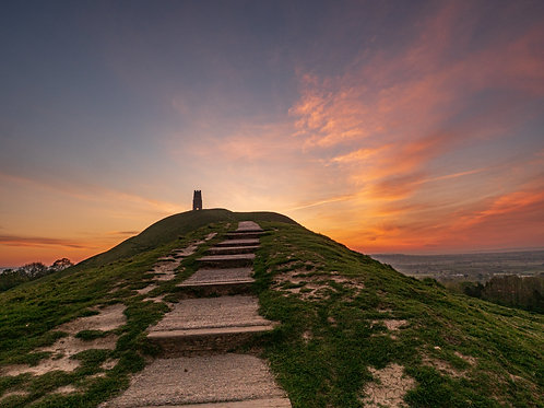 Limited edition canvas of Lockdown sunrise on Glastonbury Tor