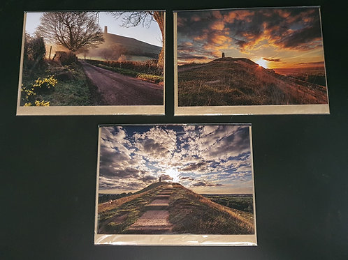 Glastonbury Tor Greetings cards (Collection 6) Pack of 3.