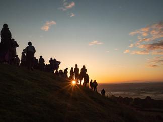 People gathered on Glastonbury Tor for sunrise