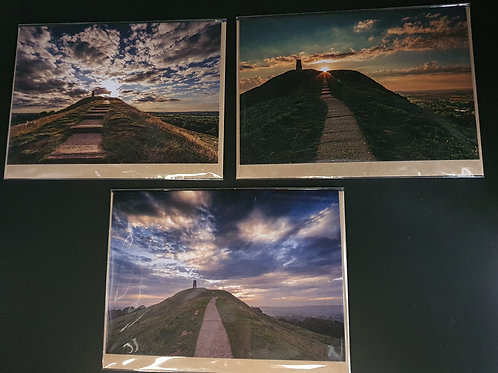 Glastonbury Tor Greetings cards (Collection 4) Pack of 3