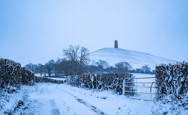 Snowy pathway to the Tor.