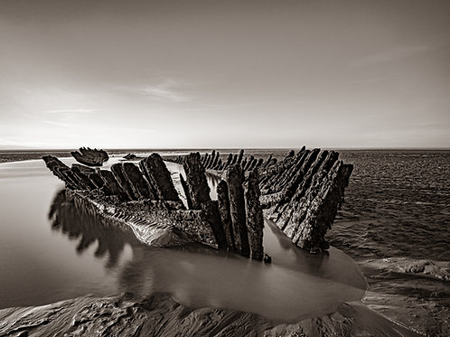 Limited Edition Print of shipwreck at Berrow (B&W)