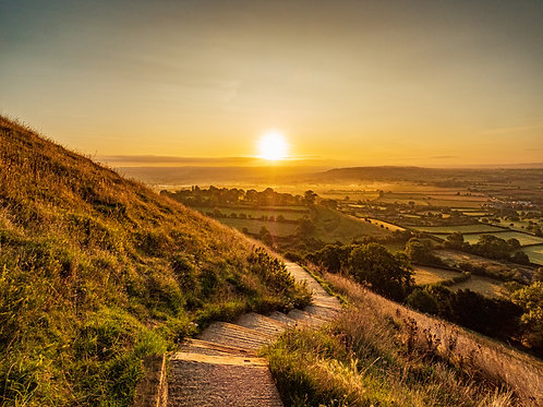Limited Edition print of Sunrise on the steps from Glastonbury Tor