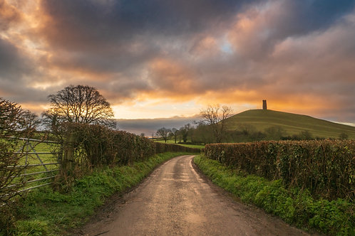 Limited Edition Canvas of moody sky and Glastonbury Tor