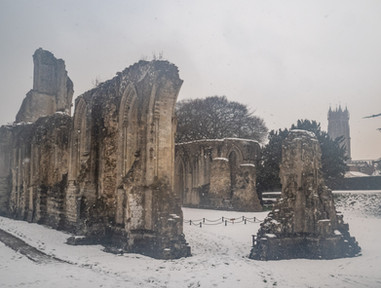 Abbey in the snow.