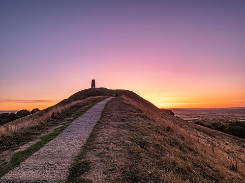 Limited Edition print of pre-dawn purple on Glastonbury Tor