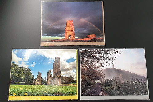 Pack of 3 greetings cards showing Glastonbury