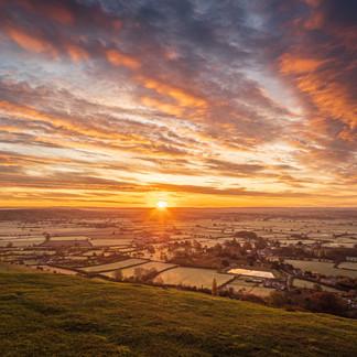 Sunrise from Glastonbury tor