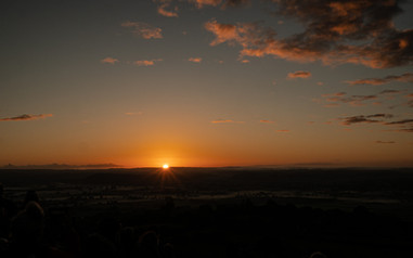 The moment the sun came up on Summer Solstice, Glastonbury, Somerset