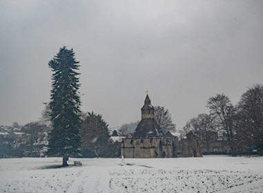 A winter scene at the Abbey.