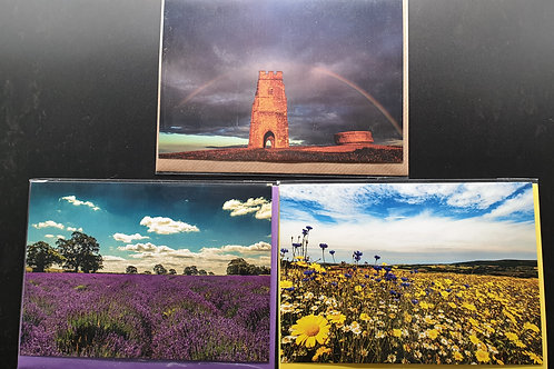Pack of 3 greetings cards showing scenes in Somerset