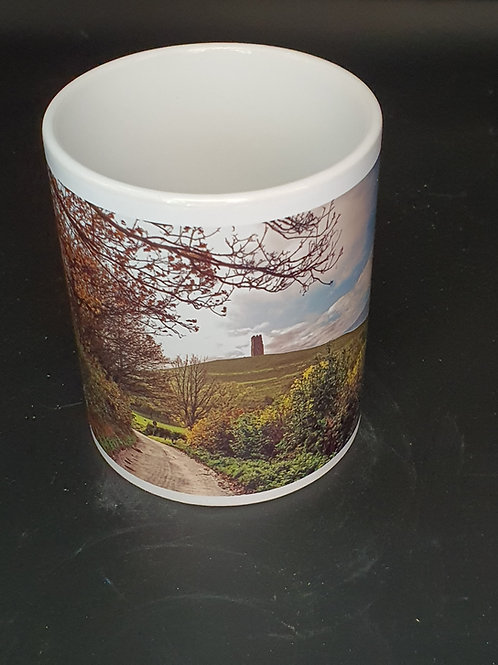Glastonbury Tor, Autumn lane wraparound Mug