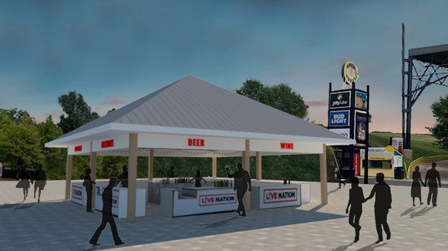 Rendering and study of new drink pavilion.