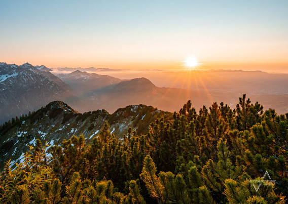 romantischer Sonnenuntergang über den Allgäuer Alpen