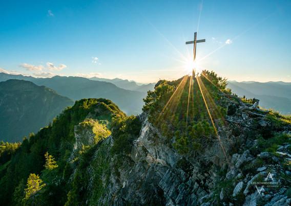 Sonnige Ausicht über den Allgäuer Alpen