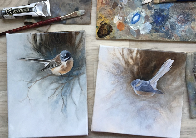 Fantail in oil colours