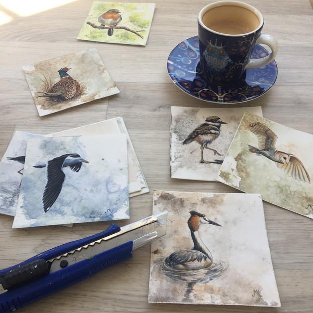 Miniature watercolour paintings.