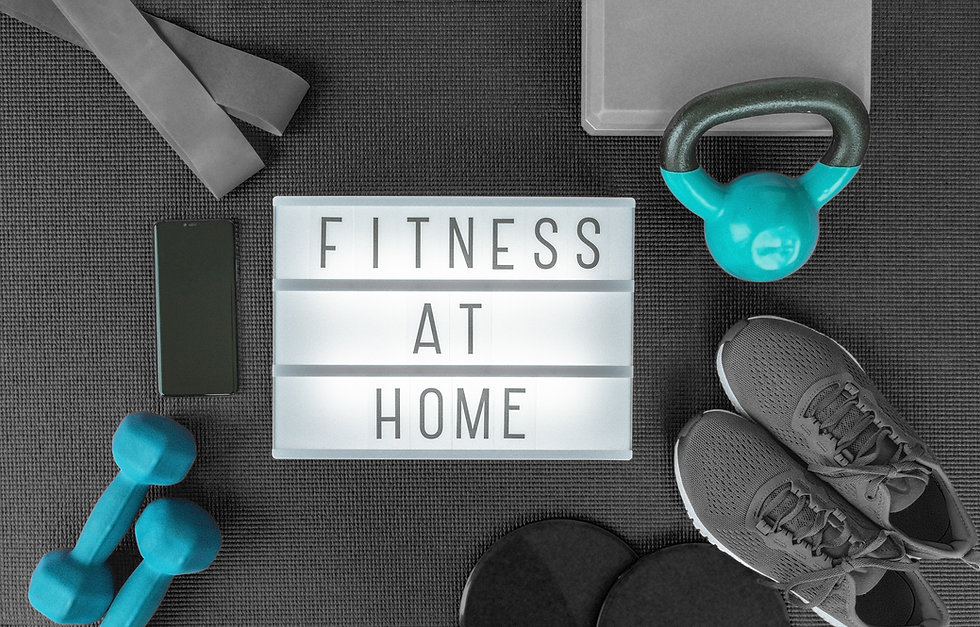 Fitness at home strength training program with dumbbells weights, resistance bands for cro
