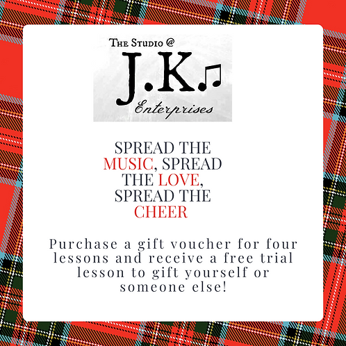 Gift Voucher for 4 Piano, Theory, or Songwriting Lessons