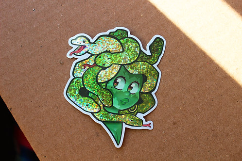 Glittery Medusa Sticker