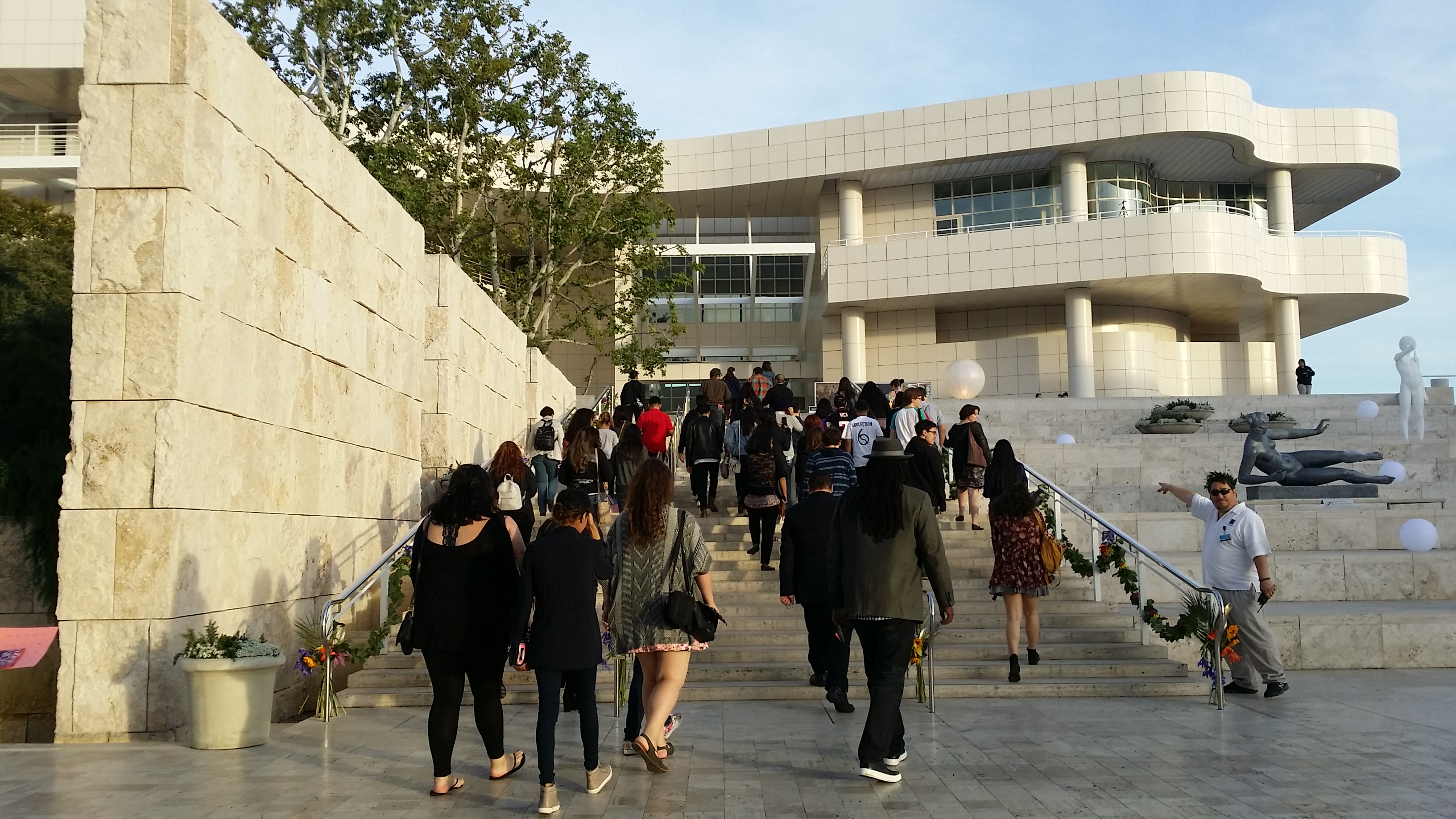 Students enter the Getty Center