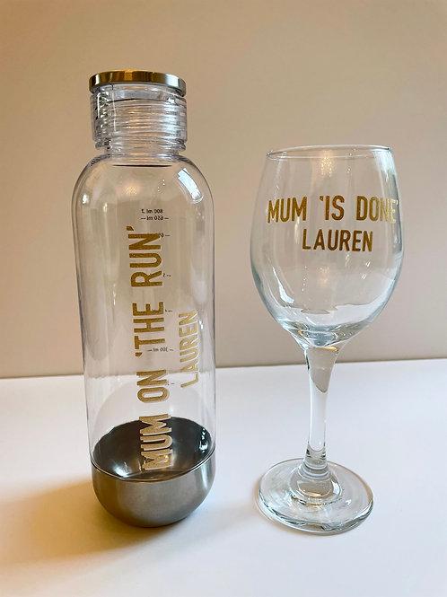 Mum on 'The Run' Water Bottle & Wine Glass