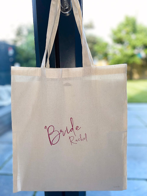 Personalised Bride Bag made from 100% recycled cotton shopping bag