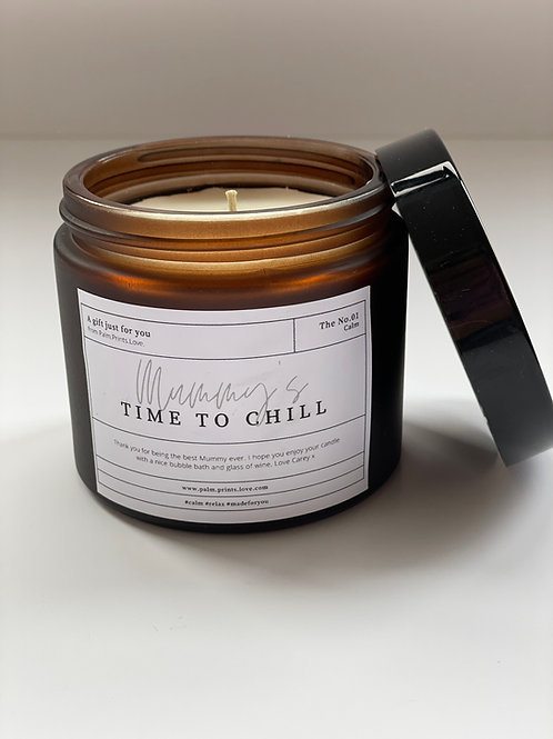 Personalised 'Time to Chill' essential oil candle.