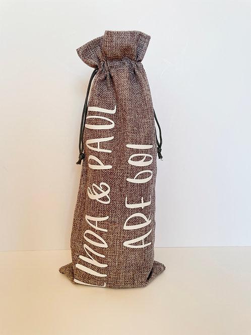Personalised Cotton Bottle Bag & Matching Bottle Label