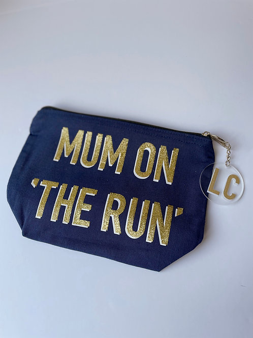 Mum on 'The Run' Navy Cotton Pouch with Personalised Keyring