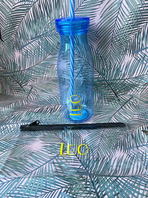 Personalised pencil case and matching water bottle - Blue