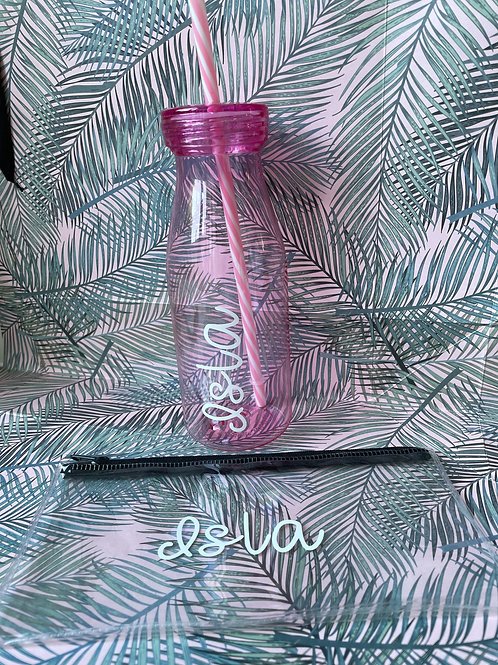 Personalised pencil case and matching water bottle - Pink