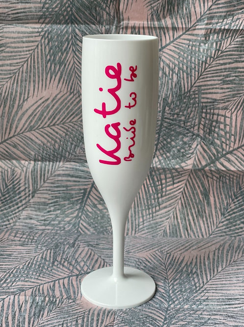 'Island  Style' Bride to Be Personalised White Champagne Glass