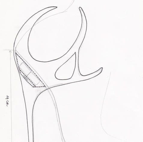 First sketch of the heel base, made by Katrien Herdewyn