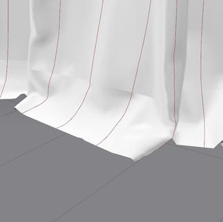 Draping simulation of curtain on floor