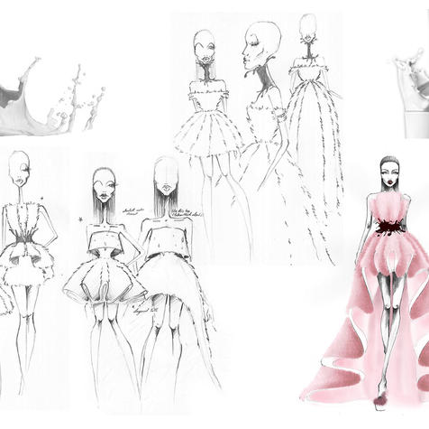 Sketches of the original designs by Rose Thurmes