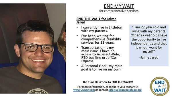 END MY WAIT for Jaime Jared in Littleton