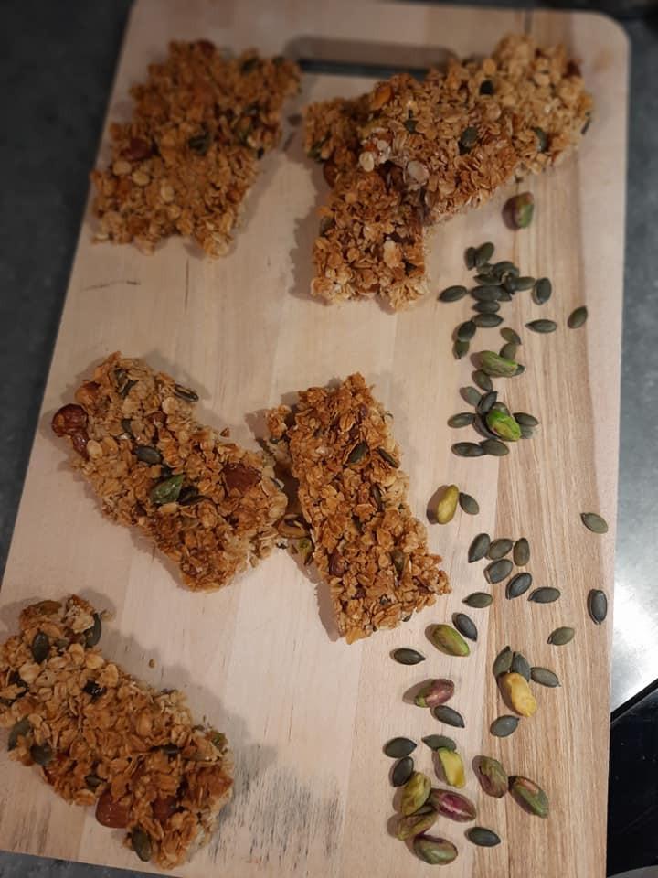Barres pistaches, graines de courge et abricots secs