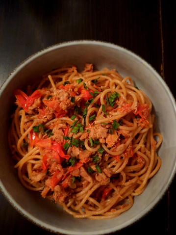 Linguines au thon et tomates cerises 😋