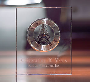 Knapp Fasteners 30 Years in Buiness Clock