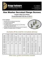 Serrated Flange Sizing Chart