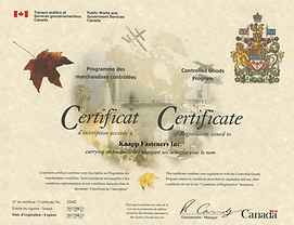 Knapp Fasteners Certifcate of Conrolled Goods