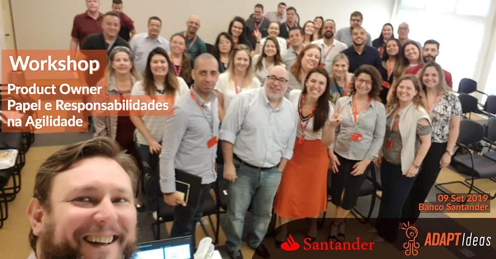 Fabiano Milani e Marcio Vitale num workshop sobre o papel e responsabilidades do Product Owner no Banco Santander em São Paulo