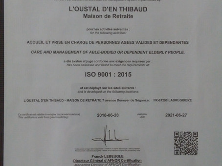 L'Oustal Certifié ISO 9000 V 2015