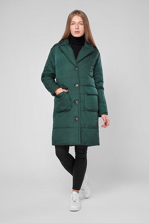 Куртка пальто на пуговицах с накладными карманами зелёная Mimichu