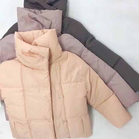 Пуховик одеяло короткий цвета пудра, персик, серый