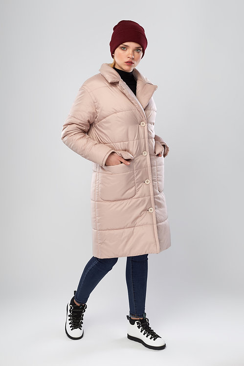 Куртка пальто на пуговицах с накладными карманами пудра Mimichu