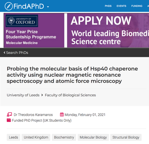 A fully funded PhD position is available in our lab