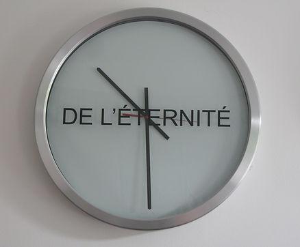 Mots du temps, diptych, clock, Ø 54 cm,